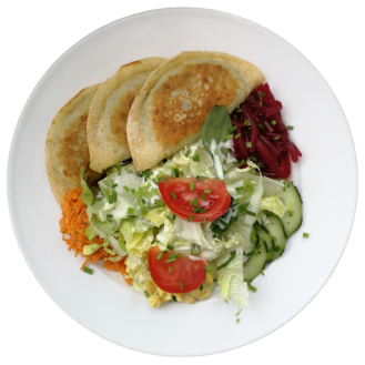 Vegi Menu ganze Portion: gemischter Salat mit Gemüseplätzli