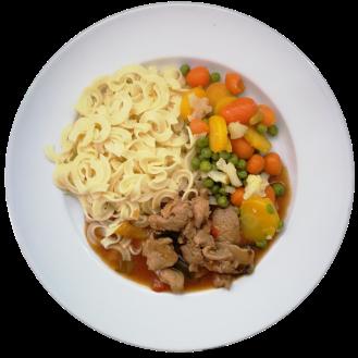Fleisch Menu halbe Portion Geschnetzeltes mit Nüdeli und Gemüse