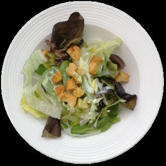 grüner Salat mit Croutons